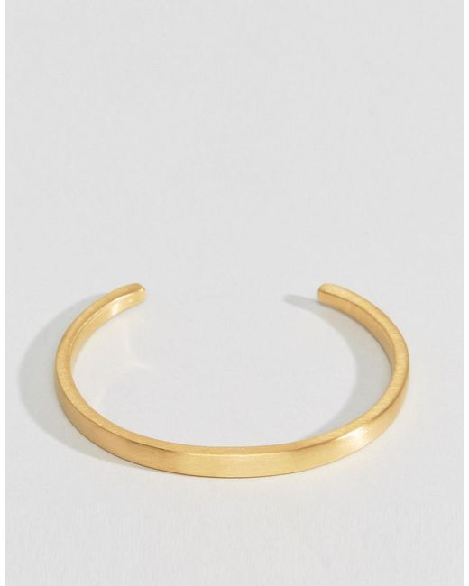 Seven London - Metallic Cuff Bracelet In Gold for Men - Lyst
