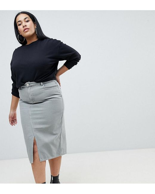 ASOS - Green Asos Design Curve Denim Midi Skirt In Khaki - Lyst