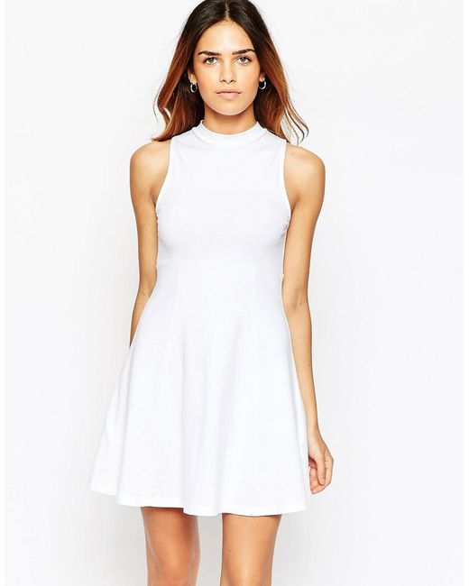 ASOS | White High Neck Empire Dress | Lyst