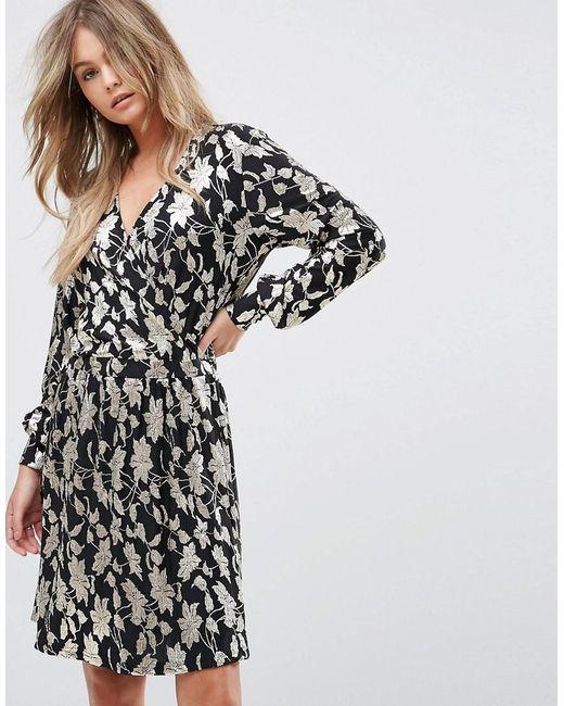 877cd6712 Vero Moda - Multicolor Metallic Print Wrap Midi Dress - Lyst ...