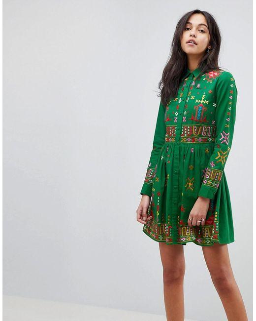 ASOS - Green Asos Premium Aztec Mini Embroidered Skater Shirt Dress - Lyst