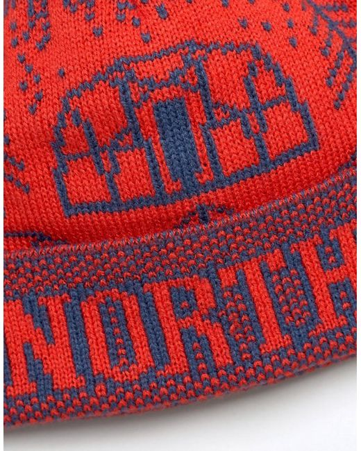 The north face Fair Isle Pom Pom Beanie Logo Dome In Red in Red ...