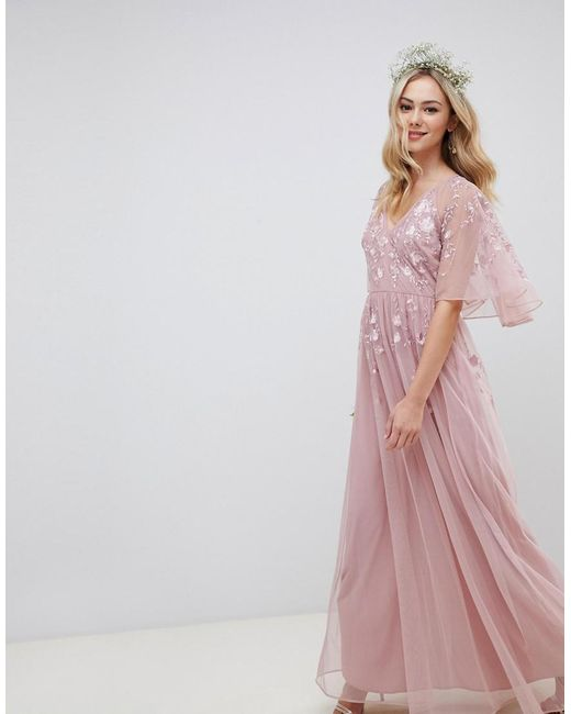 fb9c8a79fb4 ASOS - Pink Maxi Dress With Cape Sleeve In Embroidered Mesh - Lyst ...