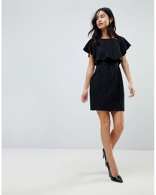 ASOS - Black Asos Double Layer Mini Wiggle Dress With Angel Sleeve - Lyst