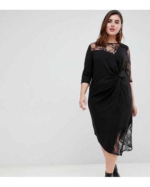 ac4fc3a4be ASOS - Black Asos Design Curve Lace Mix Twist Front Midi Dress - Lyst ...