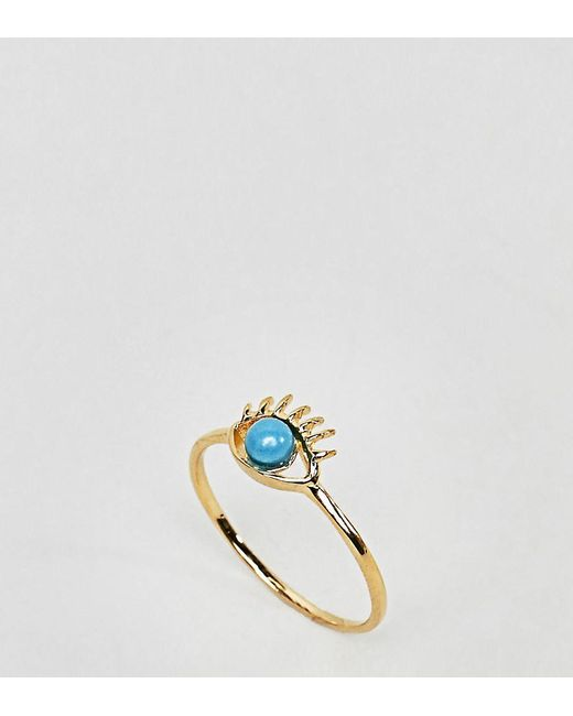 ASOS - Metallic Gold Plated Sterling Silver Eye Ring - Lyst