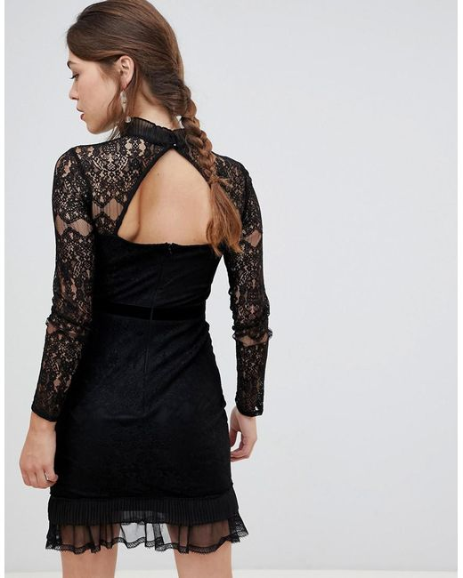 a4597c91110b ... Frock and Frill - Black Frock & Frill High Neck Long Sleeve Lace Dress  With Velvet