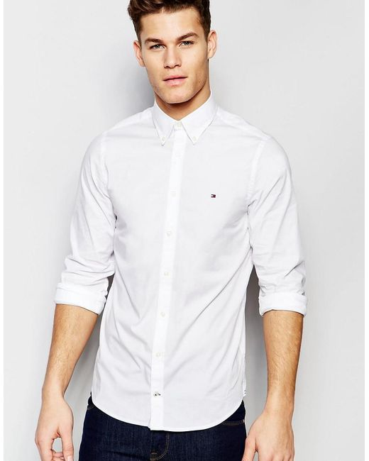 Tommy Hilfiger - Poplin Shirt With Stretch In Slim Fit In White for Men - Lyst