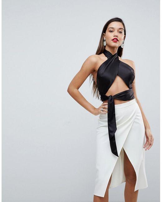 ASOS - Black Sexy Wrap Halter With Tie Detail - Lyst