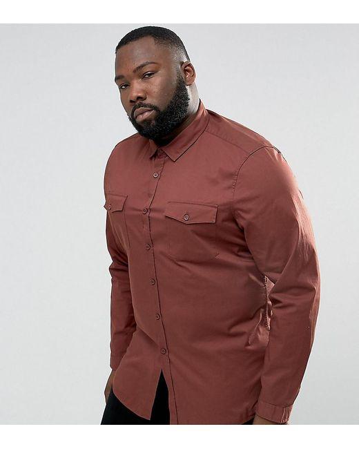 ASOS | Brown Plus Slim Fit Two Pocket Shirt In Rust for Men | Lyst