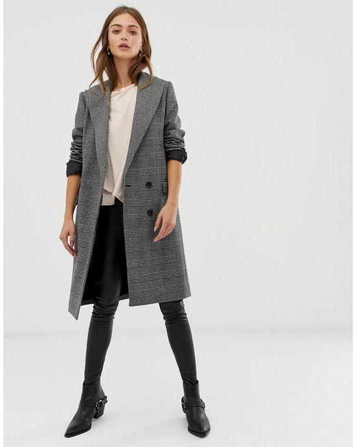 AllSaints - Gray Paityn Check Coat - Lyst