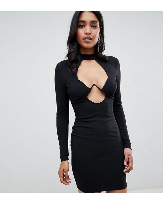68dcec4f3960 ASOS - Black Asos Design Petite Long Sleeve Underwire Mini Bodycon Dress -  Lyst ...