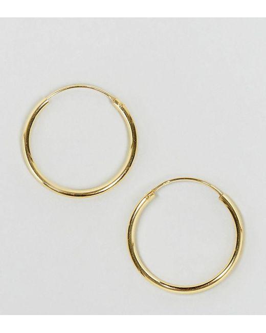 ASOS DESIGN - Metallic Gold Plated Sterling Silver 20mm Hoop Earrings - Lyst