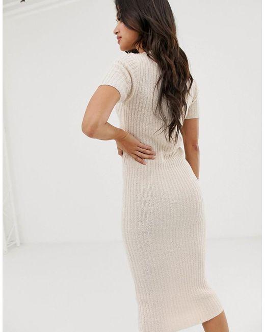 5ea5e7ed79e7e ... ASOS - Asos Design Petite Knitted T-shirt Midi Dress In Natural Look  Yarn -