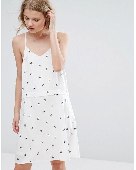 Vila | White Dove Print Cami Mini Dress | Lyst