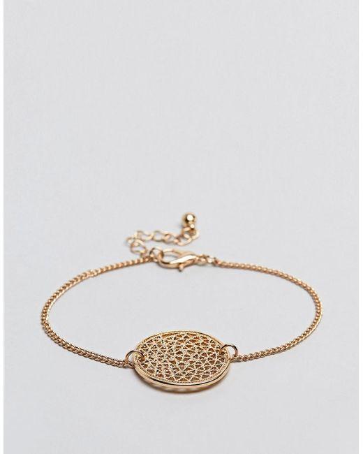 ASOS - Metallic Filigree Disc Charm Bracelet - Lyst