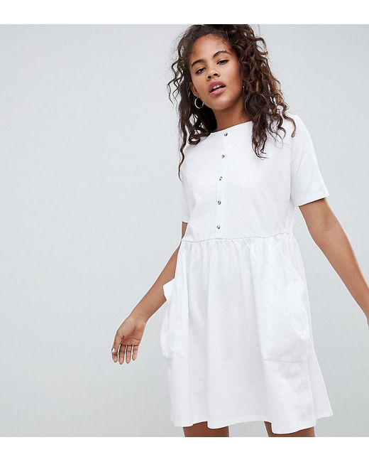 d9d1cb7ecdd ASOS - White Asos Design Tall Mini Smock Dress With Pockets And Button  Front - Lyst ...