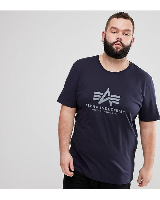Alpha Industries - Blue Logo T-shirt In Navy for Men - Lyst