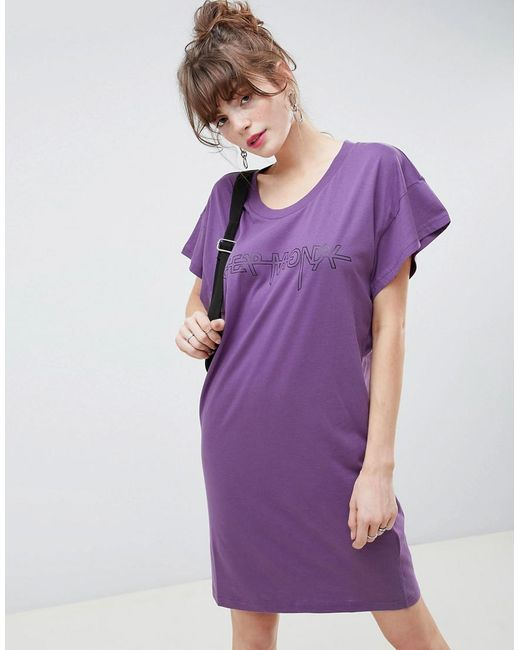 Cheap Monday - Purple Hacker Outline Media T-shirt Dress - Lyst