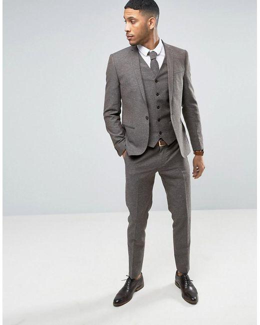 Noak Skinny Wedding Suit Jacket In Linen Nepp in Brown for Men | Lyst