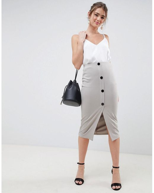 ASOS - Gray Ponte Button Front Pencil Skirt - Lyst