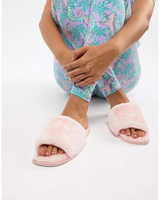 Truffle Collection - Pink Faux Fur Slide Slippers - Lyst