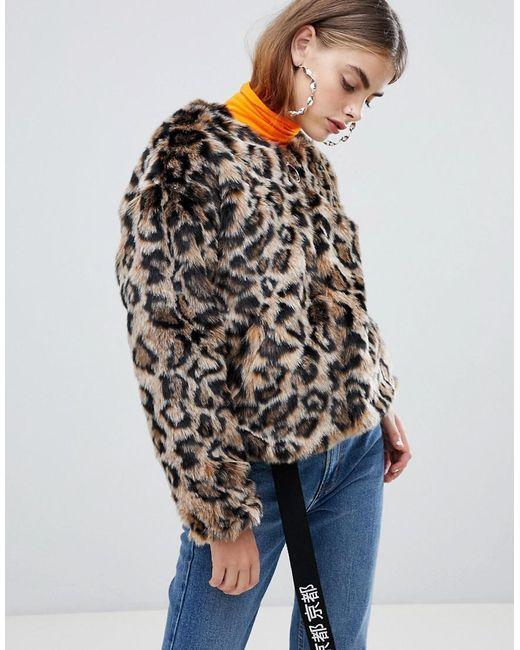 Bershka - Multicolor Faux Fur Leopard Jacket In Multi - Lyst