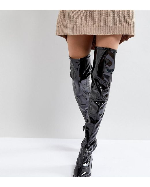 Monki Knee High Patent Boot 6SsaEVJ
