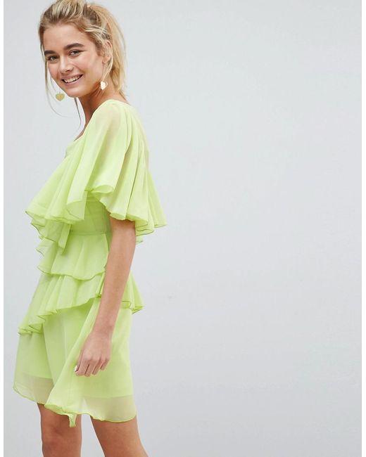 ASOS - Black Asos V Neck Ruffle Mini Dress - Lyst