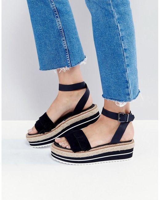 Sixtyseven | Black Flatform Espadrille Suede Leather Sandal | Lyst