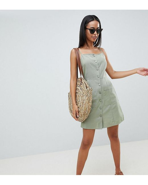 9aa1d5e711d ASOS - Green Asos Design Tall Button Through Linen Mini Sundress - Lyst ...