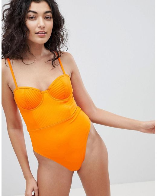 ASOS DESIGN - Orange Stitched Cupped Underwired Swimsuit - Lyst