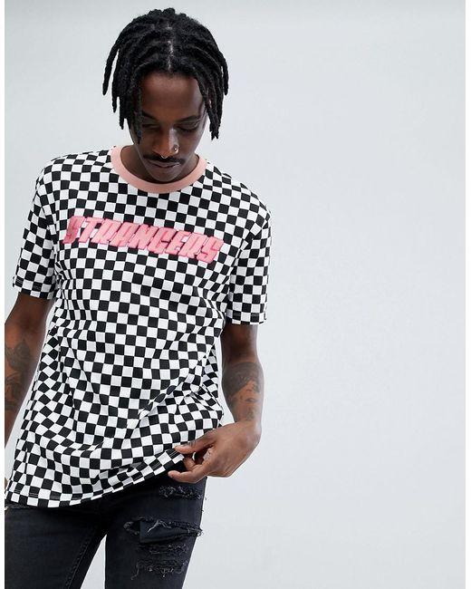 Bershka x fedez chequerboard printed t shirt in black and for Bershka x fedez