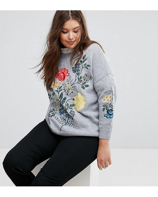 Simply Be - Gray Embroidered Jumper - Lyst