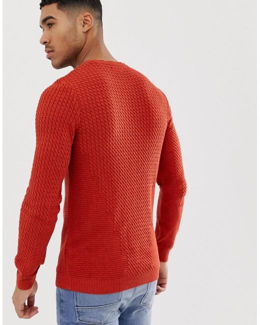 a9378d80 ... ASOS - Muscle Fit Lightweight Cable Jumper In Burnt Orange for Men -  Lyst