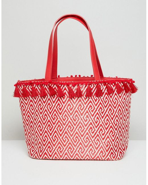 Miss Selfridge - Red Tassel Rim Tote Bag - Lyst