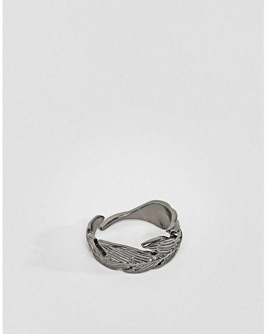 Icon Brand   Metallic Feather Wrap Ring In Gunmetal for Men   Lyst