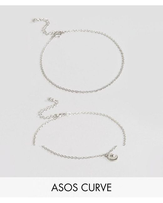 ASOS | Metallic Exclusive Pack Of 2 Moon And Star Charm Anklets | Lyst
