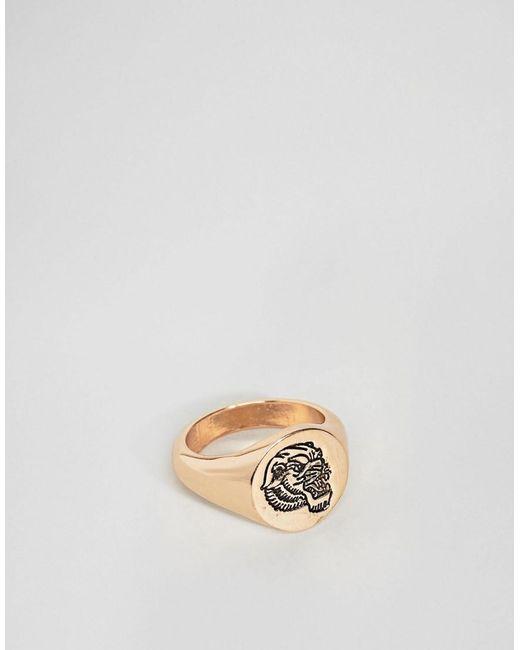 ASOS - Metallic Design Signet Ring In Gold With Tiger for Men - Lyst