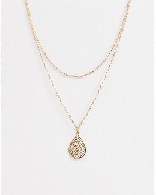 ASOS - Metallic Multirow Necklace With Teardrop Filigree Pendant In Gold - Lyst