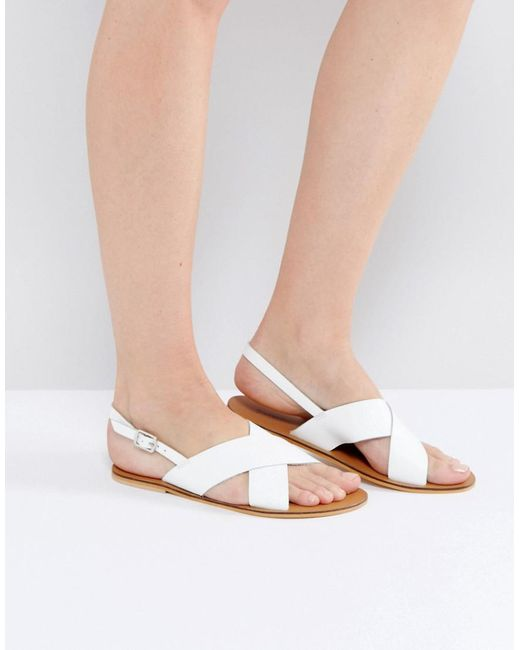 Warehouse | White Cross Front Slingback Sandal | Lyst