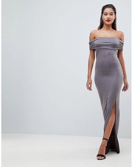 AX Paris - Gray Bardot Maxi Dress - Lyst