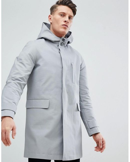 ASOS - Gray Hooded Trench Coat With Shower Resistance In Grey for Men - Lyst