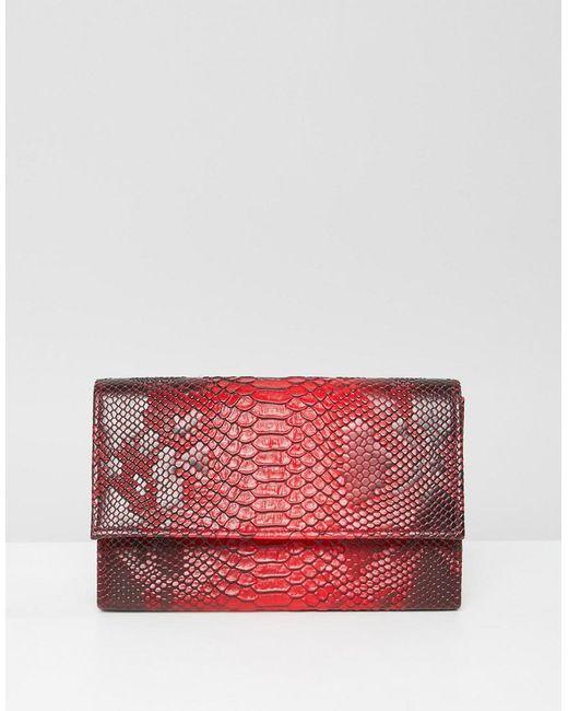 PRETTYLITTLETHING - Snake Clutch Bag In Red - Lyst PRETTYLITTLETHING ... 05e3ed8ea2