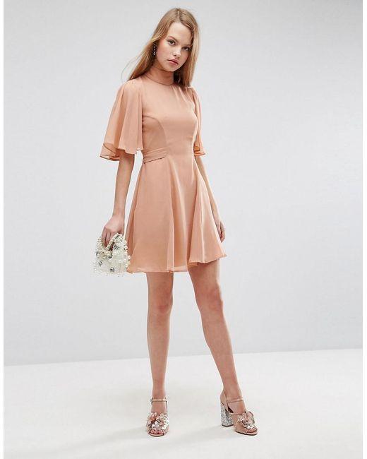 6b6d9cf09f ASOS - Pink Asos High Neck Flutter Sleeve Open Back Mini Dress - Lyst ...