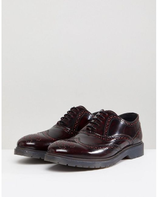 sale under $60 ASOS Wide Fit Oxford Shoes In Burgundy Leather With Laser Detail sale hot sale d56brhf