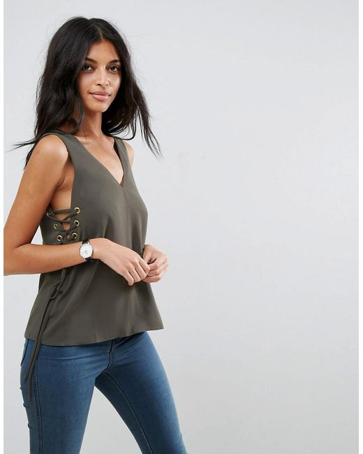 ASOS | Green Tank With Lace Up Sides | Lyst