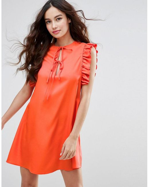 Fashion Union | Red Ruffle Sleeve Dress | Lyst