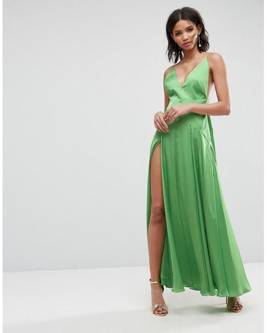 ASOS - Green Cami Thigh Split Maxi Dress - Lyst