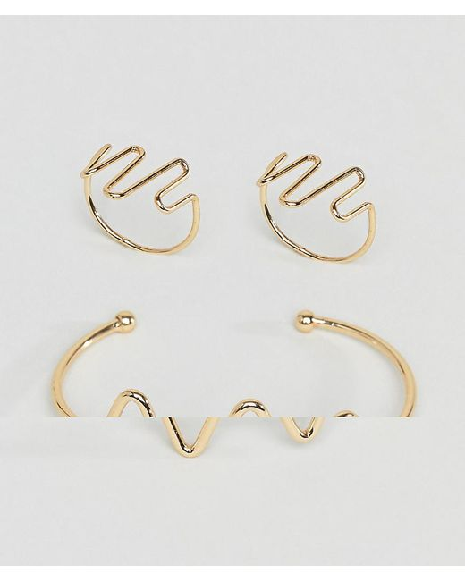 ASOS - Metallic Design Pack Of 2 Heartbeat Cuff Bracelet And Ring - Lyst